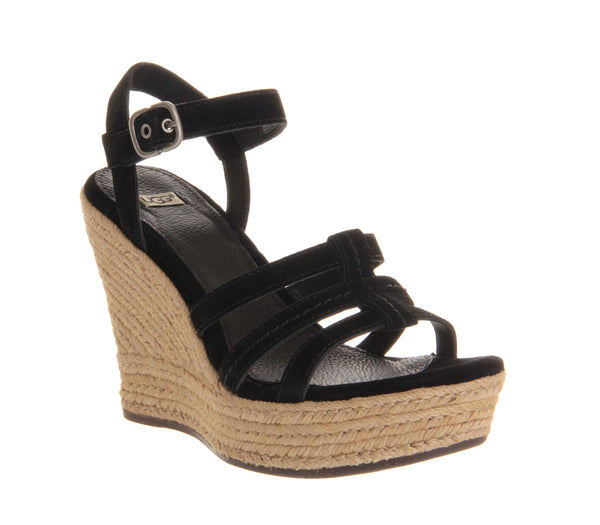 Womens Ugg Callia Wedge Sandal Black Suede