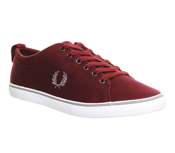 Mens Fred Perry Hallam Maroon Cloudburst White