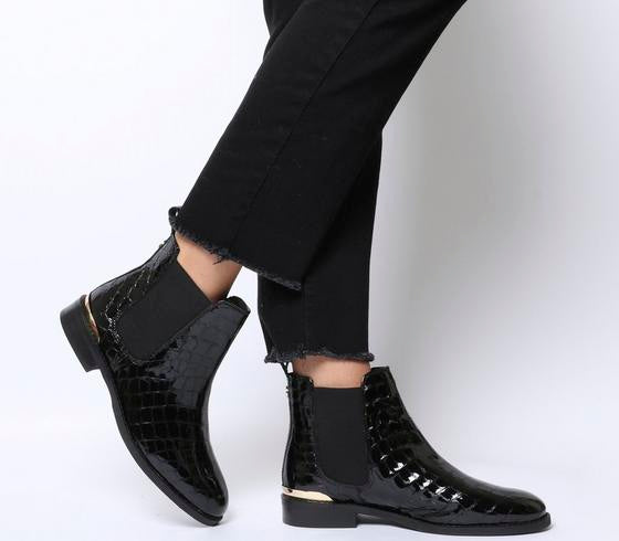 Womens Office Bramble Chelsea Black Patent Croc Leather With Metal Hardware