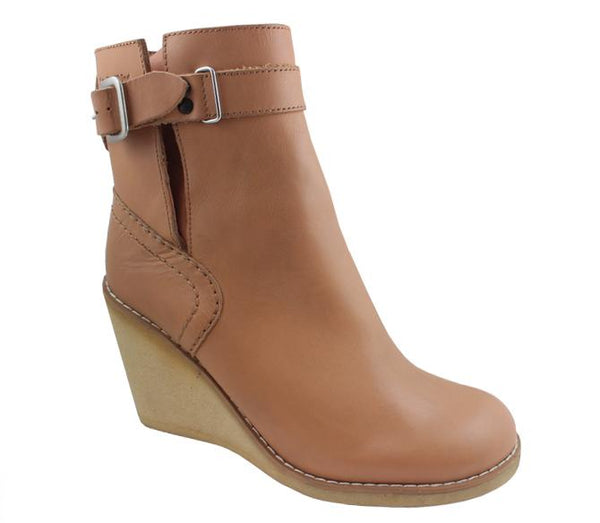 Womens See By Chloe Debbie Wedge Ankle Boot Tan Leather