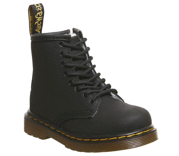 Kids Dr.Martens Lace Boot Inside Zip Brooklee (K) Black Shearling