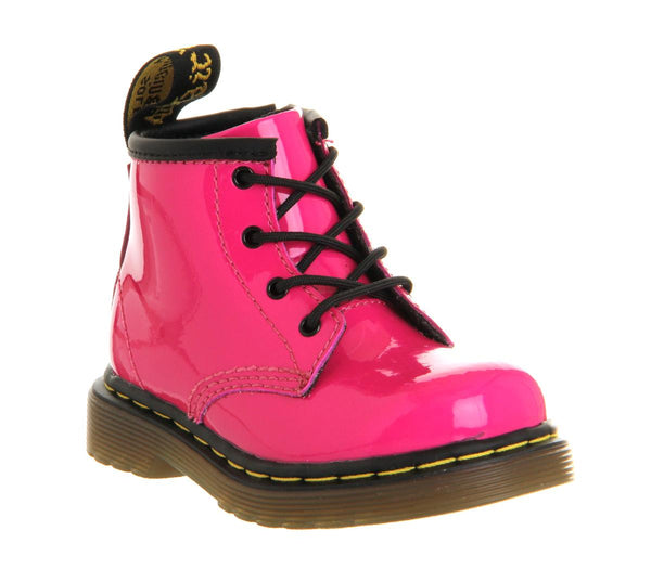 Kids Dr.Martens Lace Boot Inside Zip Brooklee (K) Hot Pink Patent