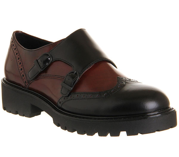 Womens Vagabond Kenvova Double Monk Black Burgundy Leather
