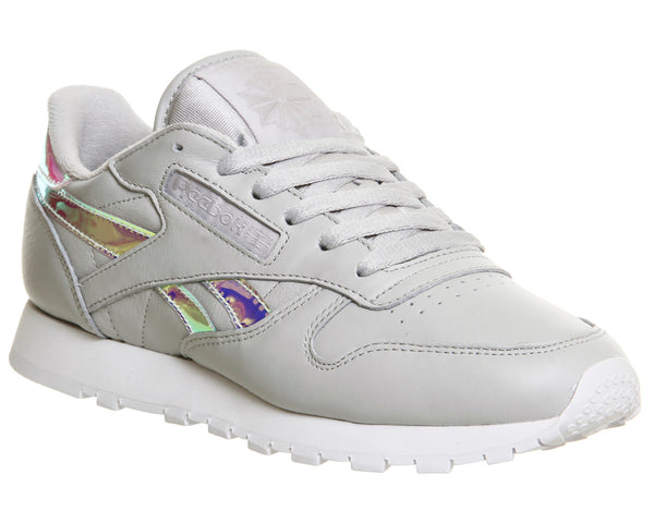 Womens Reebok Classic Leather (W) Skull Grey White Iridescent