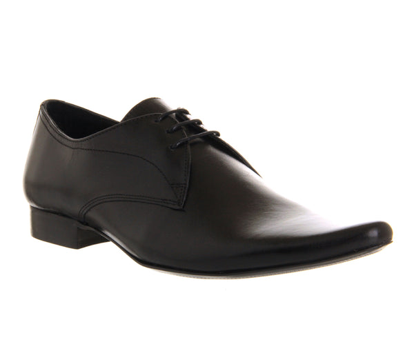 Mens Office Dougie Lace Black Leather