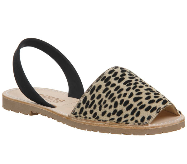Womens Solillas Solillas Sandal Leopard Black Back Strap