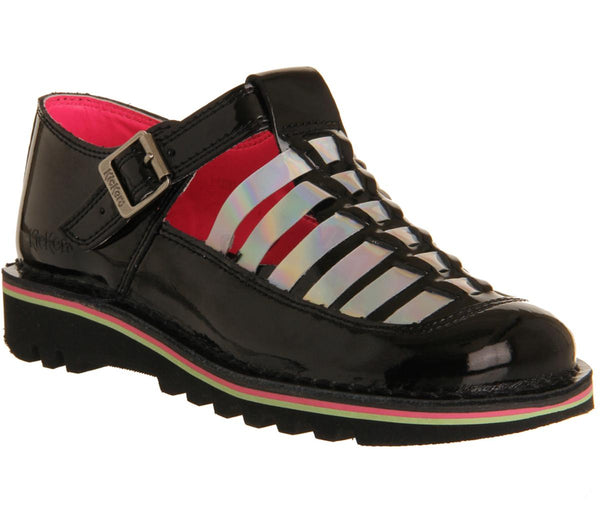 Womens Kickers Hurache Tbar Black Holographic Patent