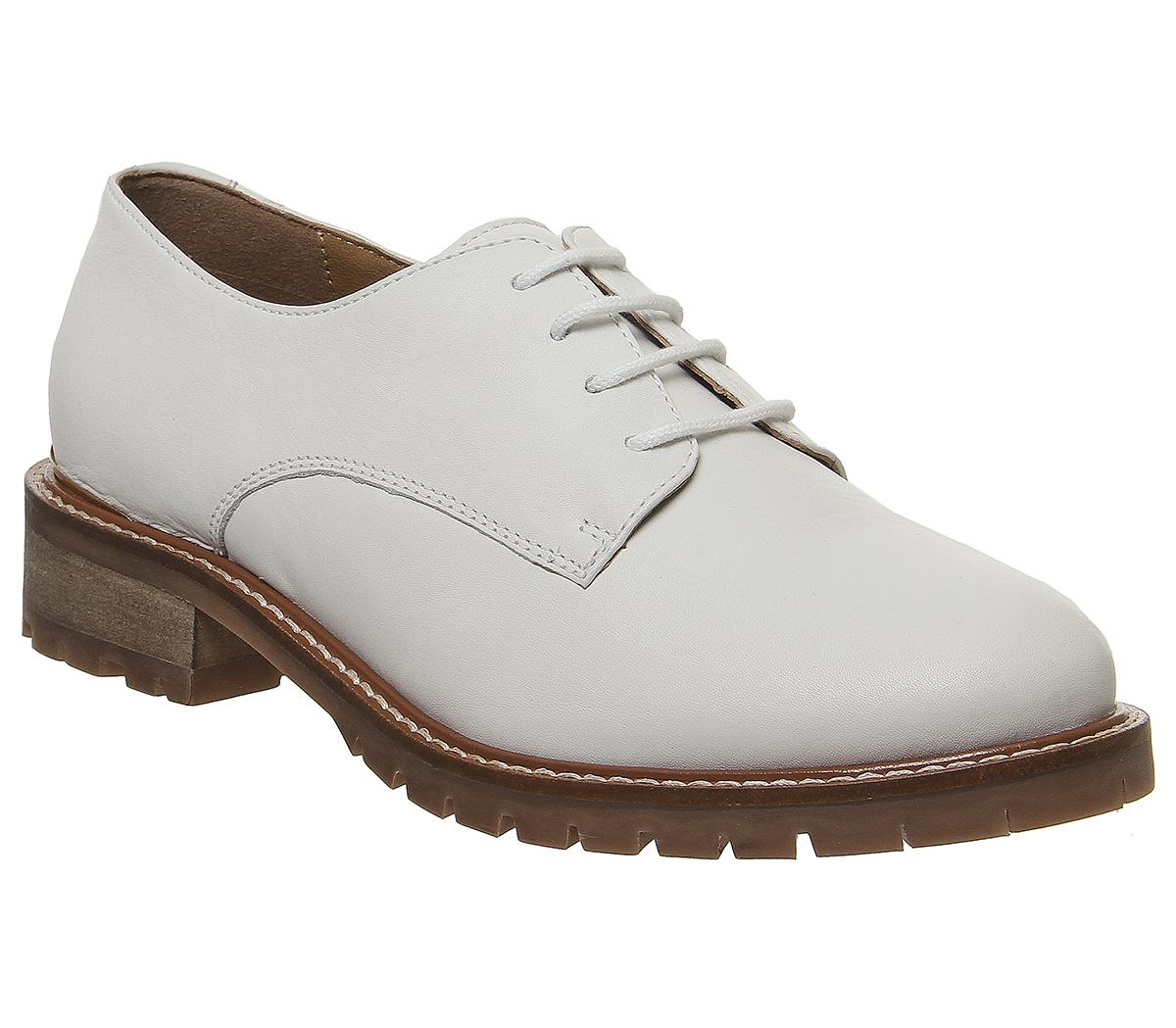 Womens Office Kennedy White Leather With Heel Clip