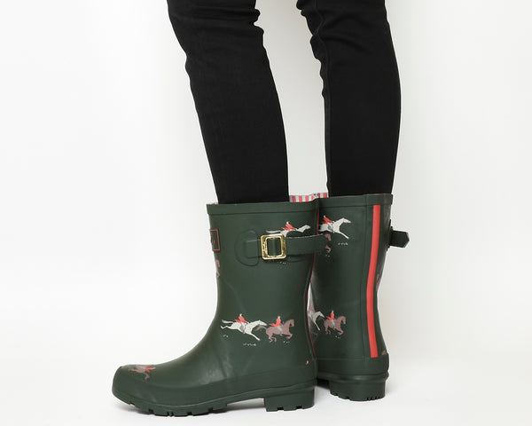 Womens Joules Molly Welly Olive Horse