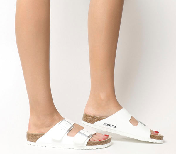 Womens Birkenstock Arizona Two Strap Sandals White Birko Flor