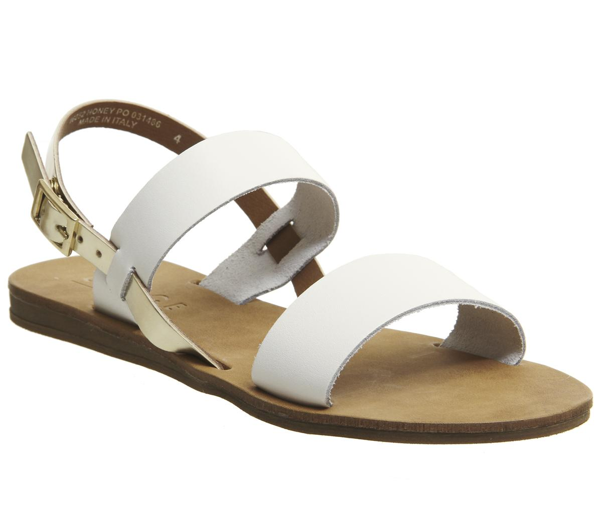 Womens Office Honey Sling Back Sandal White Leather Gold