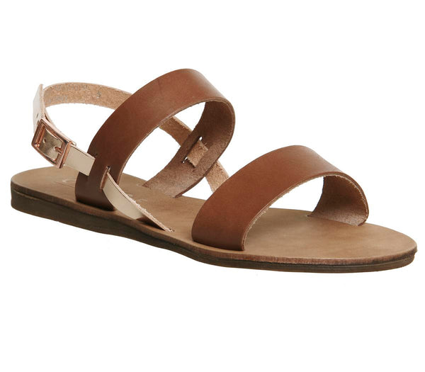 Womens Office Honey Sling Back Sandal Tan And Rose Gold