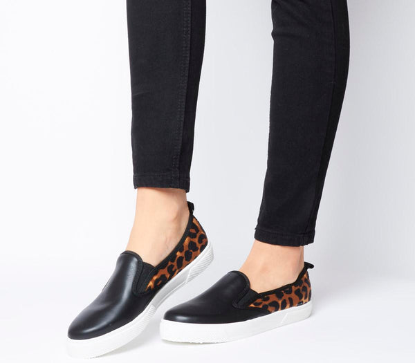 Womens Office Kicker Slip On Black Leopard