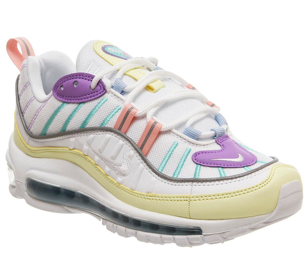Women Nike Air Max 98 Luminous Green White Atomic Violet Bleached Coral
