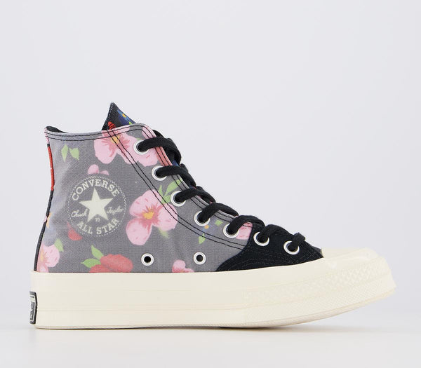 Odd Sizes - Womens Converse All Star Hi 70 S Trainers Black Multi Egret Floral Exclusive UK Sizes R6/L5