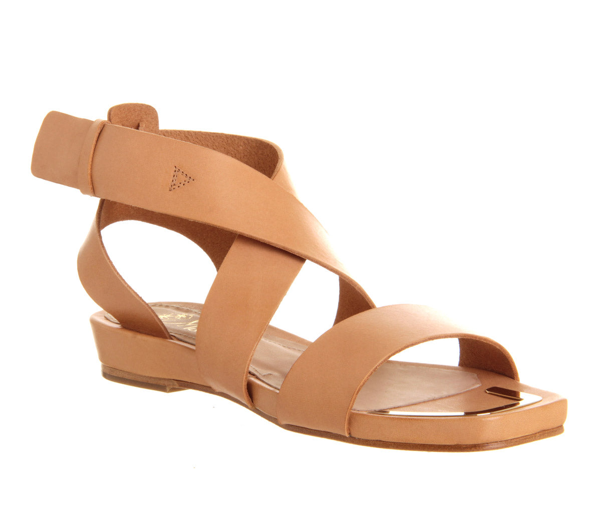 Womens Office Jasmine Flat Sandal Tan Leather