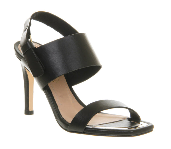 Womens Office Dahila High Heel Sandal Black Leather