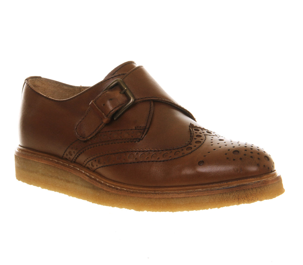 Womens Office Lotus Monk Shoe Tan Leather