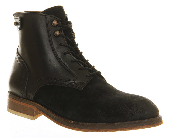Mens H by Hudson Fleetham Boot Black Suede Multi