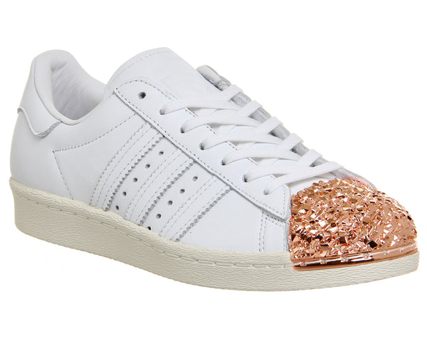 Womens Adidas Superstar 80 S Metal Toe Trainer W White Shattered Mirror Gold 3D