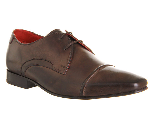 Mens Base Measure Lace Up Shoe Cocoa Burnished Leather