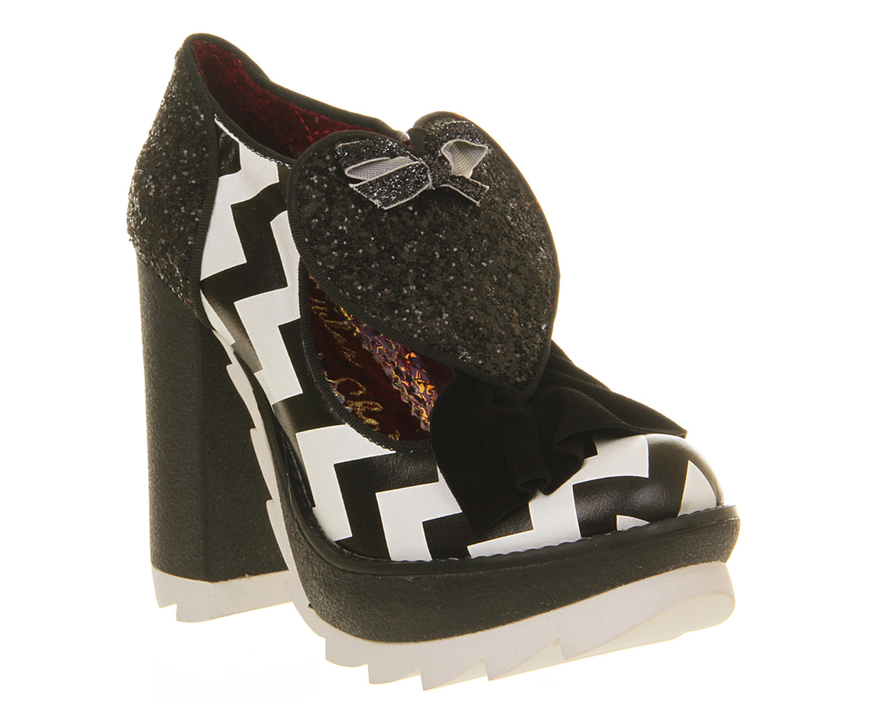 Womens Irregular Choice Late Night Heel White Black Multi