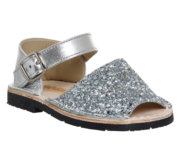 Odd sizes - Kids Solillas Bebe 510 Silver Glitter UK Sizes R7 infant/L6 infant