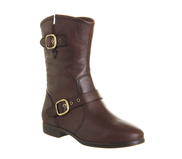 Womens Ugg Frances Buckle Boot Chocolate Leather Ankle Boots Size 6.5