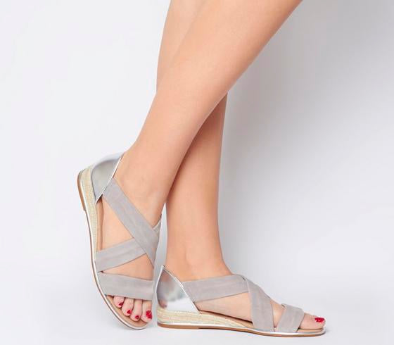 Womens Office Hallie Cross Strap Espadrille Grey Suede Silver Mix With Silver Metallic Rand
