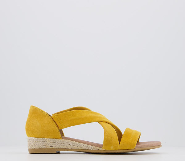 Womens Office Hallie Cross Strap Espadrille New Yellow Suede