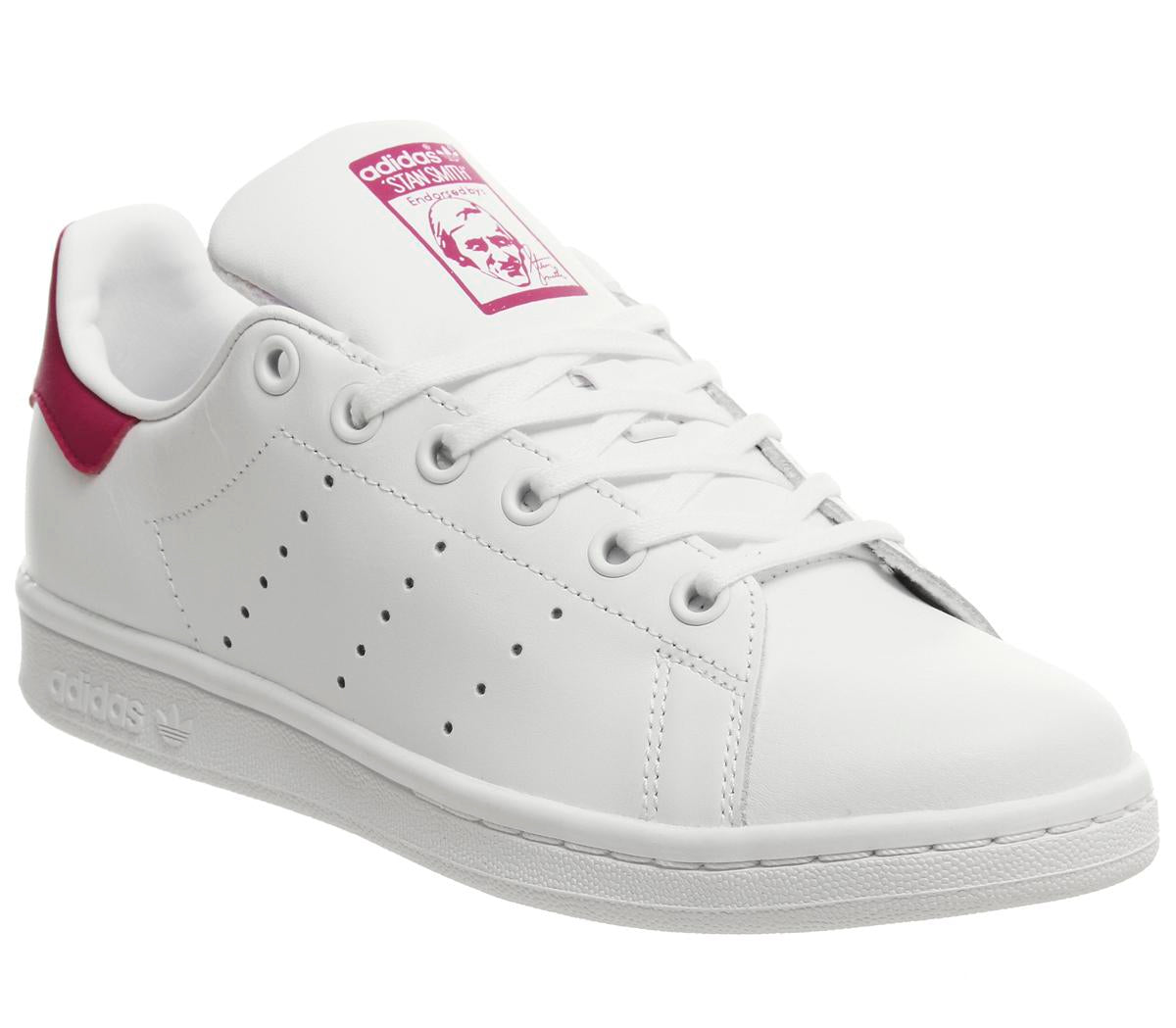 huge selection of 7f9a9 b7555 Womens Adidas Stan Smith Gs White White Bold Pink Uk Size 4.5
