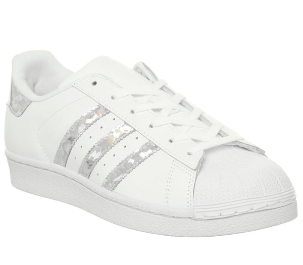 Kids Adidas Superstar Gs White Silver Holographic Uk Size 5