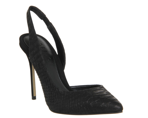 Womens Office Premiere Slingback Dorsay Point Black Snake Nubuck
