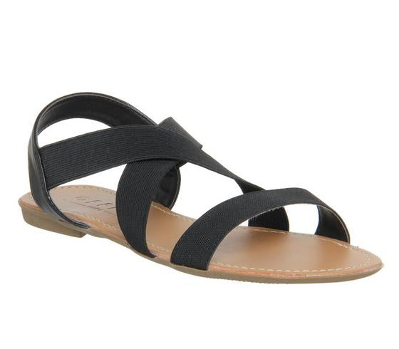 Womens Office Orbit Elastic Strap Sandal Black Elastic