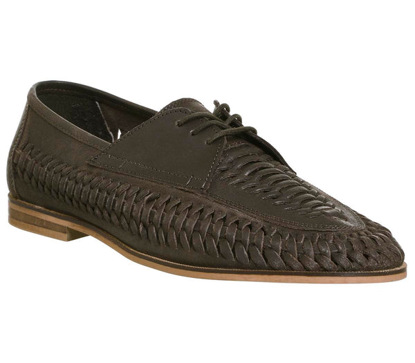 Mens Office Brixton Weave Lace Up Shoes Brown Washed Leather