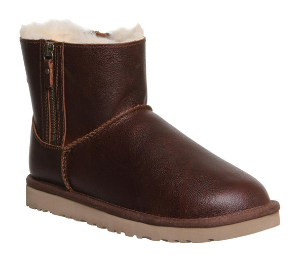 Womens Ugg Classic Mini Double Zip Chestnut Leather