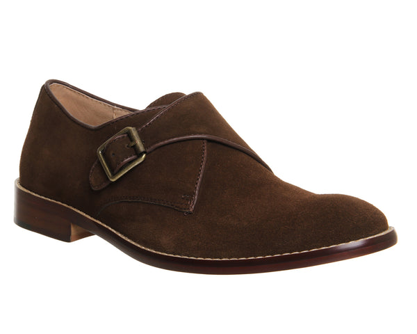Mens Office Bubble Single Monk Chocolate Suede