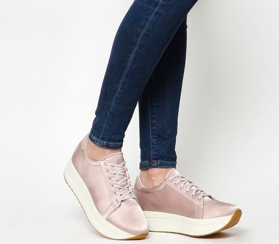 Womens Vagabond Casey Flatform Powder Pink Satin Uk Size 4