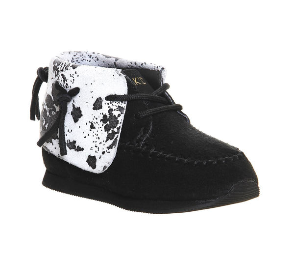 Kids Akid Stone Black Black Cow Print Uk Size 8 Infant