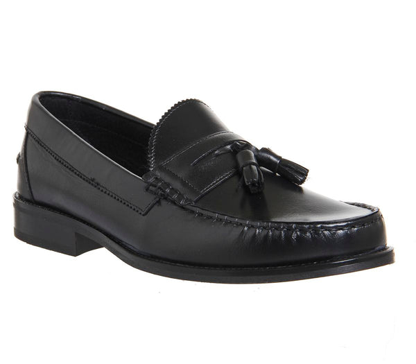 Mens Ask the Missus Bonjourno Tassle Loafers Black Leather Black Sole