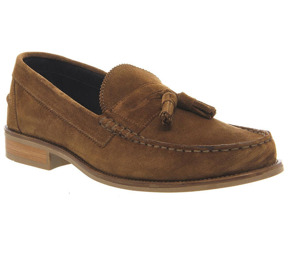 Mens Ask the Missus Bonjourno Tassel Loafers Rust Suede