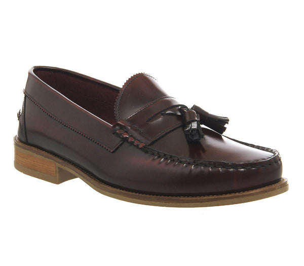 Mens Ask The Missus Bonjourno Tassle Loafer Bordo Hi Shine Leather