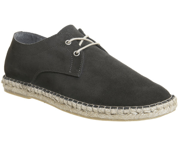Mens Office Beach Lace Up Espadrille Grey Suede