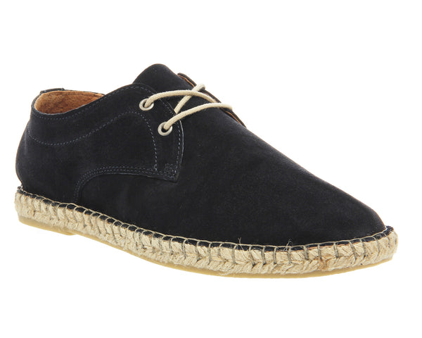 Mens Office Beach Lace Up Espadrille Navy Suede