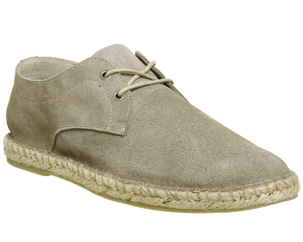Mens Office Beach Lace Up Espadrille New Beige Suede
