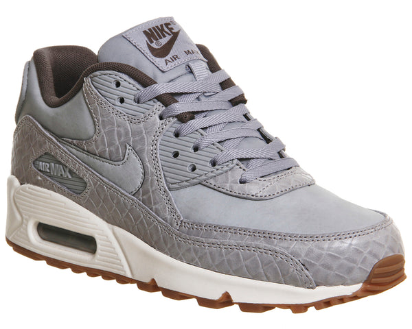 Womens Nike Air Max 90 Wolf Grey Basket Weave Gum  Trainers  Uk Size 6
