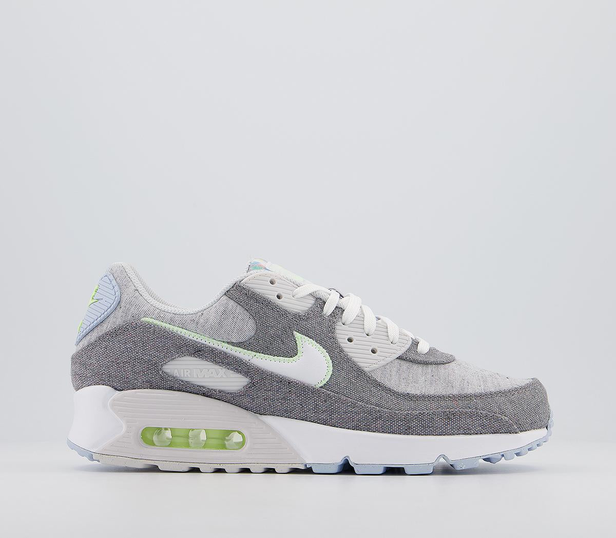 Mens Nike Air Max 90 Iron Grey White Barely Volt Celestine Blue Lx Trainers