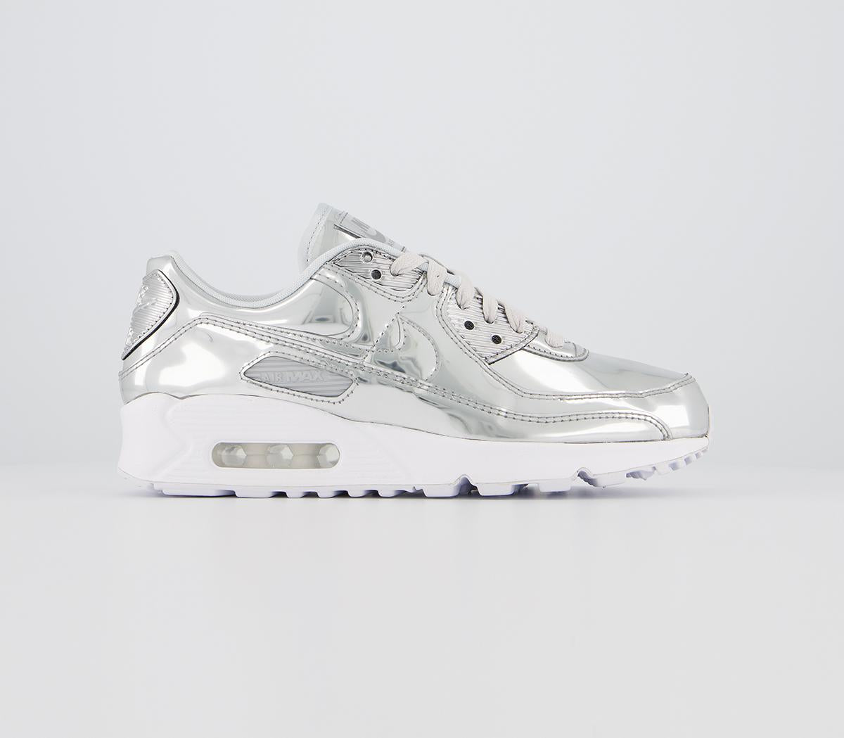 Womens Nike Air Max 90 Liquid Metal Chrome Trainers