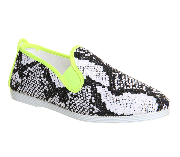 Womens Flossy Baza Flossy Pump Neon Yellow Snake