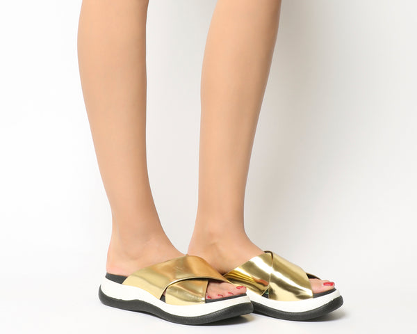 Womens Jeffery Campbell Nemo Sports Sandal Gold Leather